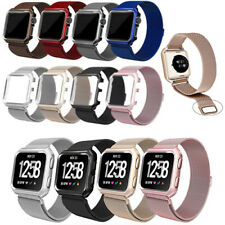 New Magnetic Loop Stainless Steel Band w/ metal frame For Fitbit Versa tracker