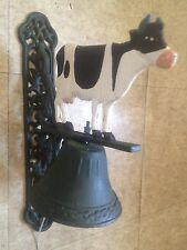 Cow Bell Dinner School Cast Iron Country Farm w/ Wall Mount Great Colors Vintage