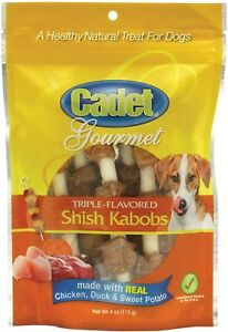 Cadet Premium Rawhide Triple-Flavored Shish Kabobs Healthly Natural Dog Treats