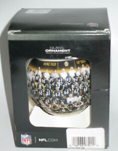 NFL PITTSBURGH STEELERS 2010 TEAM PHOTO GLASS CHRISTMAS ORNAMENT -TOPPERSCOT MIB