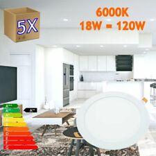 5x Downlight LED 18W Redondo Plano De Empotrar Luz Blanca Fría 6000K,200-205mm