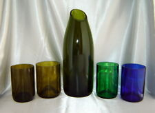 Upcycled GREEN GLASS Magnum Wine Bottle CARAFE Decanter & Tumblers Set (5 pcs)