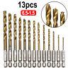 13pcs HSS Steel High Speed Twist Drill Bit Set 1/4 Hex Shank 1.5-6.5mm TW
