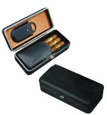 3 Cigar Case Black Leather Wood Lined Travel Humidor with Guillotine Cutter