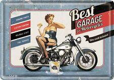 Nostalgic Art Cartolina metallo 10x14 cm - MIGLIORI GARAGE BLU PIN UP #