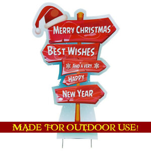 MERRY CHRISTMAS SIGNPOST Plastic Outdoor YARD SIGN Standee Standup FREE SHIPPING
