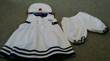 VTG BABY TOGS GIRLS 3 PC White  Blue Nautical Dress W/Bloomers/HAT Gold BTN 4T