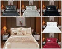 Fancy Ruffle Sequin Quilt Duvet Cover Bedding Set Double King Super King Bed