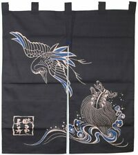 """Japanese Noren Curtain Home Business Tapestry Black 35.5"""" Long Life Turtle Crane"""