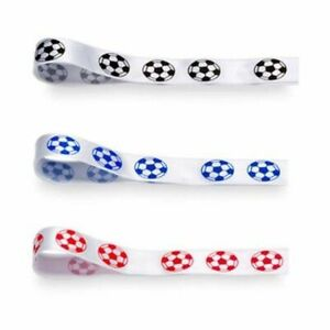 Ribbon Football  - Satin - Red, Blue or Black - 20mm wide