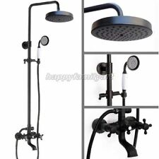 Black Oil Rubbed Brass Wall Mounted Bathroom Rain Shower Faucet Set Yrs384