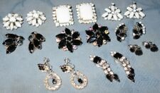 Great Lot  9 pair  Vintage  Rhinestone Earrings  Black White.. Stones  Prong Set