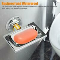 Soap Dish Basket Wall Mounted Suction Holder Bathroom Shower Storage Trays Plate