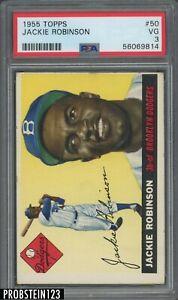 """1955 Topps #50 Jackie Robinson Brooklyn Dodgers HOF PSA 3 VG """" LOOKS NICER """""""