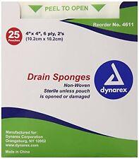 "Dynarex Drain Sponges Sterile 4"" x 4"" 6 Ply 25 Pouches of 2 Each"