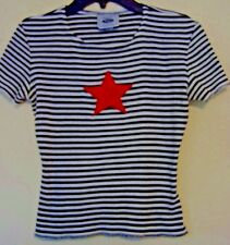 WILD FIRE CLOTHING CO RED STAR BLACK/WHITE STRIPE JERSEY TOP made in USA size S