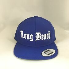 Long Beach Classic Snapback Hat Yupoong Custom 3D Embroidery Adjustable Cap Blue