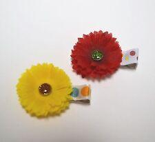 Lot of 2 Toddler Silk Flower Hair Clip - Red Yellow Daisy Sparkle Handmade