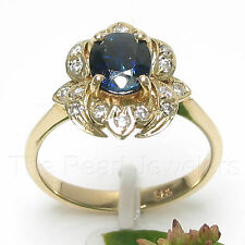 14k Yellow Gold Genuine Diamonds, Natural Blue Oval Sapphire Solitaire Ring TPJ