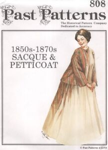 PAST PATTERNS - 1850s -1870s SACQUE & PETTICOAT HISTORICAL MULTI SIZED (CUT) A1
