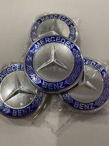 4 Stück Original Mercedes Nabendeckel Felgendeckel 75 mm  Blau A1714000025