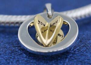 Authentic Pandora Sliver Charm Gold Plant Mum's Golden Heart Pendant  767774