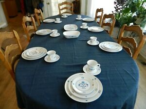 Noritake Progression China #9004 Blue Haven Set for 8 W/2 Serving Pieces    16-3
