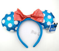 Disney Parks Polka Dot Mickey Gift Blue Sequins Minnie Mouse Ears Teal Headband