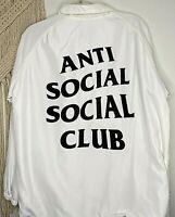 Anti Social Social Club Men's L Jacket White Windbreaker Snaps Roomy Pockets 02