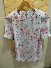 Atmosphere Shoulder Pad Floral Top Size 8 Blue