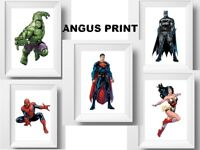 SUPERMAN HULK BATMAN SPIDERMAN , TYPE,COMICS,  SET X 5 A4 PRINTS -5 PRINTS