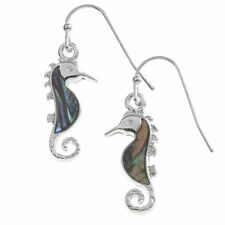 Genuine Paua Shell Seahorse Hook Earrings Tide Jewellery Inlaid UK BRAND Tj209