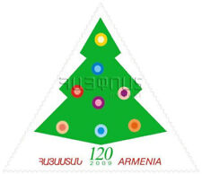 Armenia MNH** 2009 Mi 682 New Year Velvet stamp Unusual Triangle Christmas tree