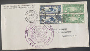 1929 Los Angeles USA LZ127 Graf Zeppelin First Round Flight cover To Lakehurst