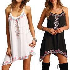 Womens Ethnic Boho Summer Beach Cotton Long Maxi Dress Tops Gypsy Blouse Shirt