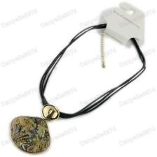 GREEN ABALONE paua shell QUALITY NECKLACE black leather BIG PENDANT gold tone