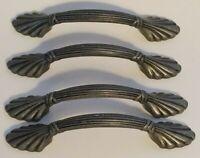 Set of 4 Vintage Antiqued Steel Metal Drawer Pulls Handles Bail Steampunk Wire