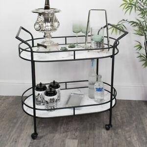 Black & Marble Oval Bar Cart trolley drinks shelving two tier modern glamorous