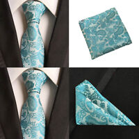 Men Sky Blue Paisley Silk Ties Pocket Square Handkerchief Hanky Set Lot HZBWT068