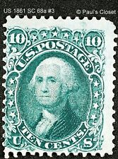 US 1861 SC 68a 10¢ WASHINGTON DARK GREEN MHM ORIGINAL GUM P12 F/VF #3