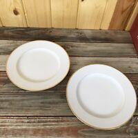 "NORITAKE GOLDCROFT China # 4983 gold trim pattern 10"" Dinner plates 2 pieces L12"