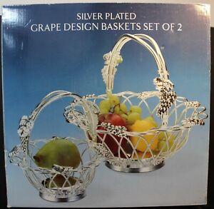 Silver Plated Grape Design Baskets Set of 2 - Original Box - Used
