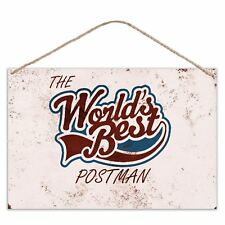 The Worlds Best Postman - Vintage Look Metal Large Plaque Sign 30x20cm