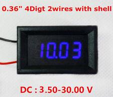 4 Digital LED Volt Voltage Meter Voltmeter 2-wires with Shell Car Battery Blue