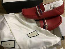 Gucci Men's 473766 Red Leather Hebron Driver Loafer slip on shoe Size 9.5 Men US