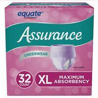 Assurance Incontinence Disposable Underwear XLarge-Women Adult Diaper [32 ct] XL