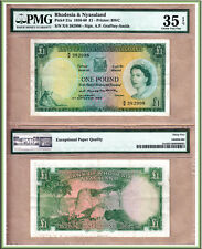 1956 One Pound Rhodesia & Nyasaland, QE2 Note. PMG Choice VF35 EPQ