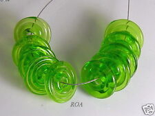 ROA Lampwork 10 Transparent Lime 022 Handmade USA Disc Art Glass Beads SRA