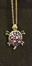 Turtle Necklace with purple stones