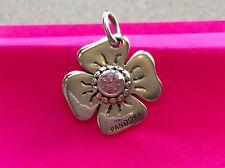 Pandora Sterling Silver Flower Charm with Pink Rhinestone